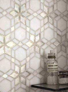 Iridescent Glass Mosaic Kaleidoscope Frost tiles, look beautiful in bathrooms.