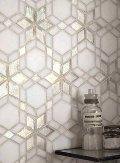 Iridescent Glass Mosaic Kaleidoscope Frost tiles, look beautiful in bathrooms.