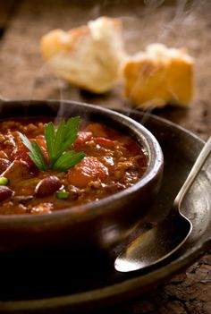 This recipe for chili is one of the closest ones to 'original' chili we have on this site. It consists mainly of meat and has quite a bit of sauce.