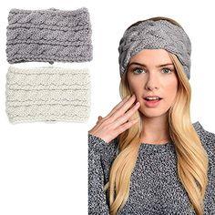 3b6580dee8f 2 pack Womens Winter Knit Headband and Hairband Headwrap Hat Cap Ear Warmer  -- Find