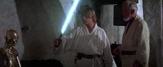 And then picking up again in A New Hope, where Obi-Wan passes it down to Luke… | This Video Of Luke's Lightsaber Will Hit You In The Feels