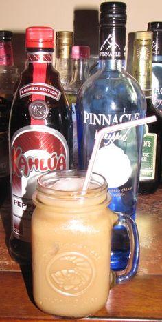 5 oz coffee 2 oz milk 1 oz whipped vodka 2 oz peppermint mocha kahlua Pour all over ice, yum!