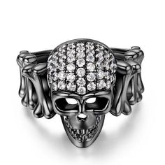1.5 CT Black Rhodium Plated Sterling Silver Designer Skull Engagement Ring #SterlingSilverEngagement