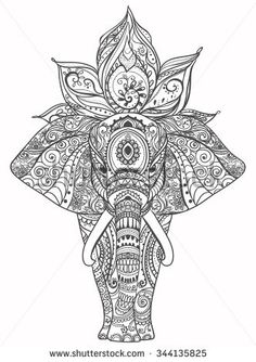 Lotus Flower Tattoo Designs Greeting Beautiful Card With Elephant Frame Of Animal Made In Mais