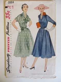 SIMPLICITY  Printed Pattern with Instructions  No. 3884    **Uncut and Unused**  One-Piece Dress  Size 40, Misses  Date: 1952  Bust: 40  Waist: 34