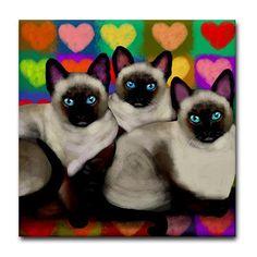 SIAMESE katten hart Love Art keramische tegel door EvaDesignsArt