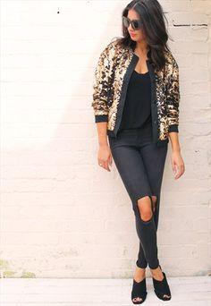 Statement Twotone Sequin Bomber Jacket in Matte Gold & Black