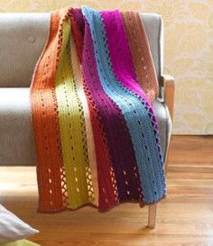 Colorful Windchime Afghan - free pattern. I don't know if this is truly a Mile-a-Minute afghan, but it is worked in strips.