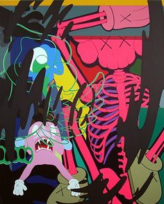 """Kaws: """"Untitled (The Pink Skeleton)""""More Pins Like This At FOSTERGINGER @ Pinterest"""