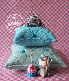 Pillow cake with cute unicorn - Cake by sonjashobbybaking Pillow Cakes, Pillows, Cute Unicorn, Sweet Girls, Cake Decorating, Birthdays, Christmas Ornaments, Holiday Decor, Unicorns