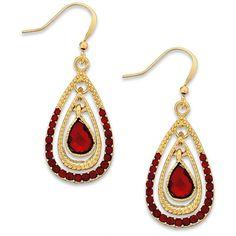 Style & co. Gold-Tone Red Stone Teardrop Earrings