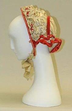 1851–62 Promenade bonnet; American; silk, wire, cotton; height 9 1/2 in. (24.1 cm). Metropolitan Museum of Art.
