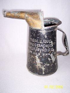 Vintage Oil Can 1/2 Gal Liquid U.S. Standard N.Y.C. Apprd. D.2 Minn Antique? Black