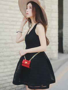 Striped high rise mini dress