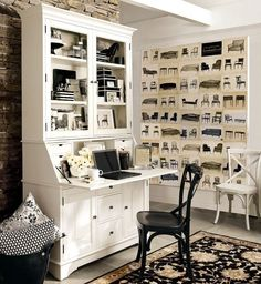 Luxury-executive-office-desk-and-chairs-idea-with-having-compact-armoire-desk-plus-black-and-white-wooden-chairs-also-oriental-rug