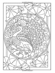 Free coloring page coloring-adult-art-nouveau-style-peacock. The peacock : an animal often used in Art Nouveau illustrations