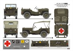 Jeep Willys, 1st Polish Independent Parachute Brigade (Medical Company) 1941-1947. Colour plate (rys.) A.Glinski