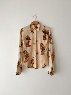 Geisha Print Silk Blouse