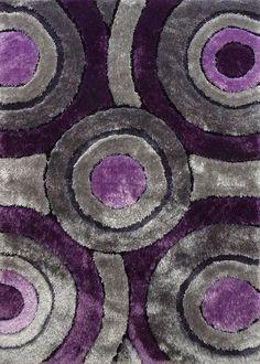 2-Piece Set | Shaggy Vibrant Gray & Purple Hand-tufted Area Rug with Rug Pad 2-piece-set, 3-Piece-Set Bundle - Rug Addiction, Rug Addiction - 2