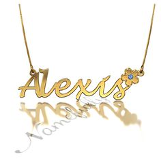 Our lovely Alexis Flower Name Necklace with Birthstones in 10k Yellow Gold will decorate your neck like no other!   Starting at $225 in Namefully.com