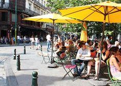 Having drinks in the sun at St. Goriks square.