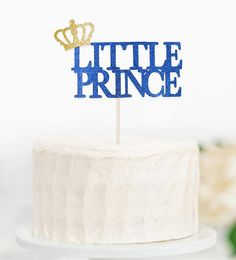 Prince Royal Blue Birthday Cake Topper Boy's First