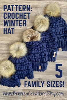 Crochet Pattern - Family Winter Hats - available in 5 different sizes! - Brenley's Crochet Wish List - Preemie Crochet, Crochet Adult Hat, Crochet Winter Hats, Crochet Beanie Pattern, Crochet Kids Hats, Newborn Crochet, Knit Or Crochet, Crochet Clothes, Knitted Hats
