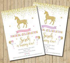 Unicorn Birthday Invitation 1st Birthday by funkymushrooms on Etsy