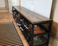 Large Storage Bench   Etsy Shoe Storage Mudroom, Cubby Storage, Storage Spaces, Locker Storage, Shoe Rack Oak, Large Storage Bench, Cubbies, Shelves, Kids Room Furniture