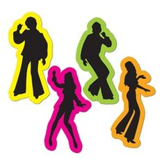 Yeah these Retro 70's Silhouettes were dancin' and singin' and movin' to the groovin'. Play that funky music at your 70's Disco Party so your guests can boogie on down to the dance floor and show off their best disco moves. Decoration Disco, 70s Party Decorations, Party Themes, Wall Decorations, Decade Party, Disco Theme, Disco 70s, Retro Party, 1970s Party