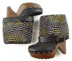f3a7ee89e0732 Sam Edelman Wickley Womens 9 Black Leather Spike Studded Heels Platform  Boots  SamEdelman  AnkleBoots