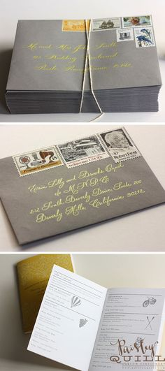 grey envelopes, yellow calligraphy? embossing stamp for rsvp envelope?