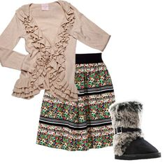 Help transition flowing skirts to cooler weather by pairing them with pretty cardigans and furry boots!