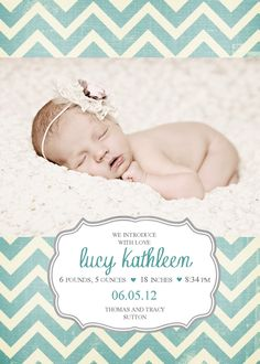 Double Sided Baby Girl Birth Announcement - Chevron Stripe - Blue/Cream/Gray