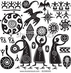 Illustration of Elements for designing primitive art vector art, clipart and stock vectors. Arte Tribal, Tribal Art, Native Art, Native American Art, Primitive Kunst, Art Pariétal, Doodle Drawing, African Symbols, Afrique Art