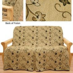 Charlotte Skirted Futon Cover Is Beautiful Fl Tapestry Offers Gorgeous Beige Background With Embroidered Accents