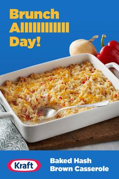 This Baked Hash Brown Casserole is your new best side dish. An easy breakfast recipe that will work with any meal at any time of day. Brunch Recipes, Breakfast Recipes, Dinner Recipes, Breakfast Cookies, Easy Casserole Recipes, Casserole Dishes, Cooking Recipes, Healthy Recipes, Healthy Snacks
