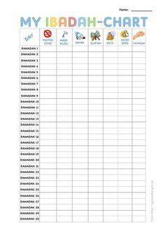 free printable ibadah-chart for ramadan kids More