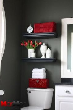 High Quality Bathroom Black And Red Shelves