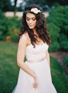 Wild curls and a floral crown: http://www.stylemepretty.com/2015/09/16/romantic-outdoor-wedding-in-maryland/ | Photography: Michael and Carina - http://michaelandcarinaphotography.com/