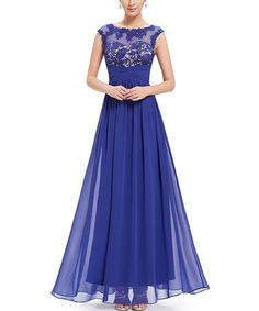 Look what I found on #zulily! Sapphire Blue Lace-Accent Sweetheart Gown #zulilyfinds