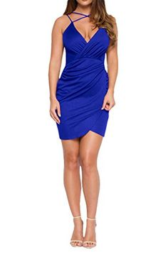 f9386f6a99 DAMAI Women s V Neck Front Cross Sexy Halter Dress Bodycon Bandage Cocktail  Party Dress  Size details  bbr Model A   Front Cross Short Dress bbr  length  ...