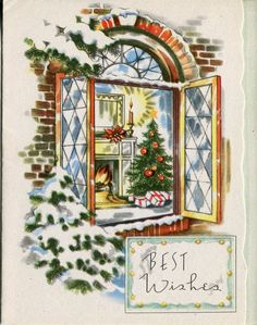 unused Vintage Christmas Card : Fireplace and Chris5tmas Tree in Open Window