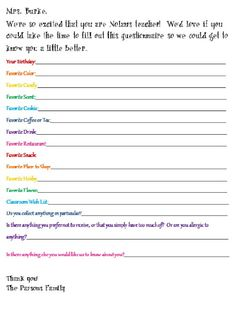 The Almost Perfectionist: Teacher Questionnaire. Love this Idea!!!