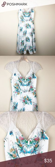bac8993094f048 ASOS Lace White Floral Dress F177 Size 2