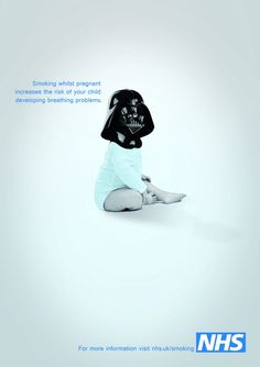 Very very clever use of imagery. Darth vader has a rough sounding voice just as a smoker would have a bad chest. This advert is trying to say it can pass on to the baby  Funny and clever
