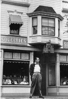 Walt Disney below the Disneyland window dedicated to his father. #vintagedisney #disneyland #waltdisney