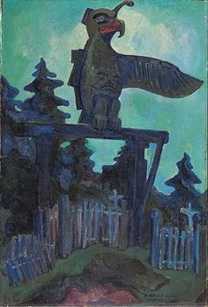 Graveyard Entrance, Campbell River, oil on canvas by Emily Carr Tom Thomson, Canadian Painters, Canadian Artists, Impressionist Paintings, Landscape Paintings, Oil Paintings, Landscapes, Totems, Matisse
