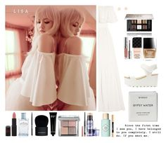 """""""Lisa in white"""" by jinchoihae ❤ liked on Polyvore featuring Temperley London, Rimmel, Prada, Giorgio Armani, Givenchy, Bobbi Brown Cosmetics, Maybelline, Benefit, BP. and NYX"""