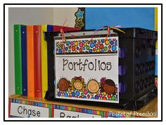 My portfolio that helps me organize all my assessments.  Each student has their own file in the tub.  Once a month or so I file each student's assessments into their portfolio binder.  Pocket of Preschool